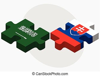 Saudi Arabia and Slovakia Flags in puzzle isolated on white...