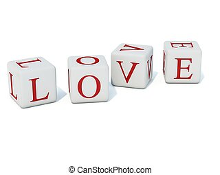 Red letters Love on bricks isolated on white