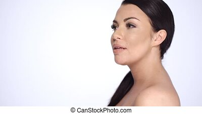 Sexy Brunette Girl With Bare Shoulders in Beauty Shoot...