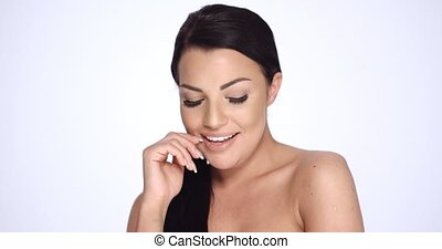 Happy Smiling Brunette Girl Posing on White Background She...