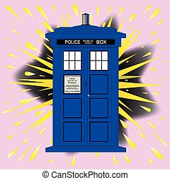 British Police Box With Abstract Explosion - A typical...