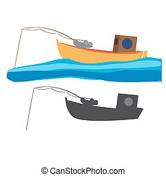 fishing boat - vector illustration of fishing boat with...