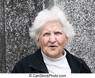 old lady portrait - portrait of an octogenarian lady with...