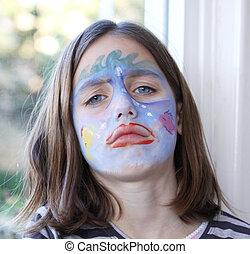 sad child portrait - portrait of a grumpy caucasian child...