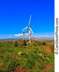 Flowering Golan Heights and windmills - Israel Flowering...