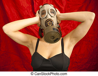 Sexy Woman with gas mask - Portrait of Sexy Woman with gas...