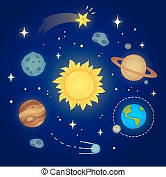 Space Doodle illustration - Hand drawn solar system doodle...