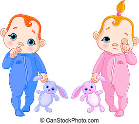 Cute babies going to sleep - Adorable vector illustration of...