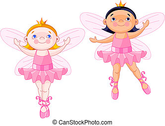 Little fairies - Vector illustration of two little fairies...