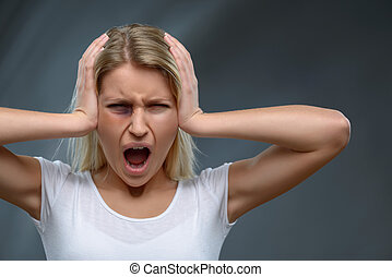 Hopeless woman expressing fear - Scream out loud Emotional...