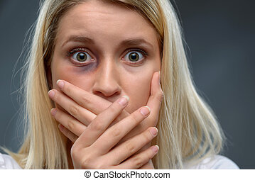 Hopeless woman expressing fear - What a terror Close up of...