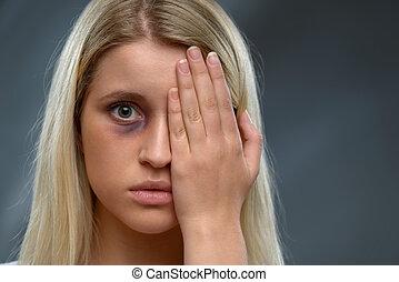 Hopeless woman expressing fear - Full of hopelessness. Close...