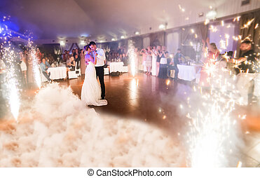 Beautiful wedding dance - beautiful bride and groom dancing...