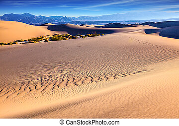 Mesquite Flat Sand Dunes - Thin waves on the sand in...