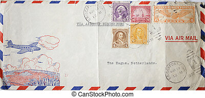 Vintage airmail envelope sent with Airship Hindenburg -...