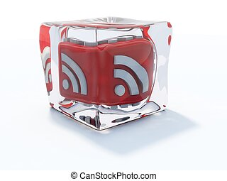 Red rss icon frozen in ice cube isolated on white