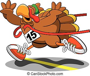Print - A vector illustration of a turkey, trotting his way...