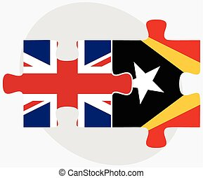 United Kingdom and East Timor Flags in puzzle isolated on...