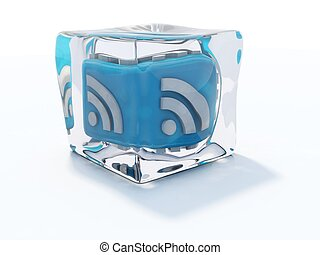 Blue rss icon frozen in ice cube isolated on white