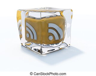 Yellow rss icon frozen in ice cube isolated on white