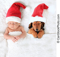 Christmas baby and Santa puppy - Sleeping newborn Christmas...