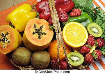 Healthy diet - sources of Vitamin C - oranges, strawberry,...