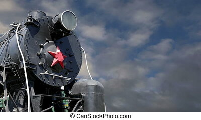 Ancient steam locomotive, Moscow museum of railway in...