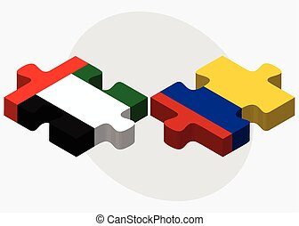 United Arab Emirates and Colombia Flags in puzzle isolated...