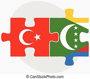 Turkey and Comoros Flags in puzzle isolated on white...