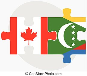 Canada and Comoros Flags in puzzle isolated on white...