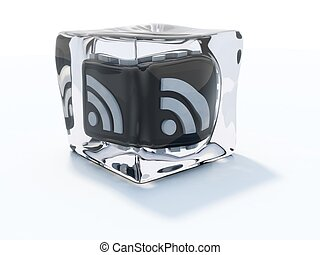 Black rss icon frozen in ice cube isolated on white
