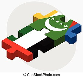 United Arab Emirates and Comoros Flags in puzzle isolated on...