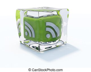 Green rss icon frozen in ice cube isolated on white