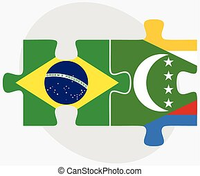 Brazil and Comoros Flags in puzzle isolated on white...