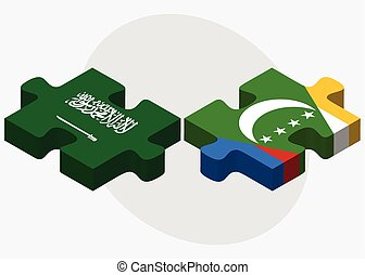 Saudi Arabia and Comoros Flags in puzzle isolated on white...