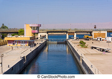 Sluice gate on the Nile river, Egypt.  watergate near Esna