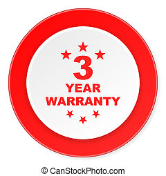 warranty guarantee 3 year red circle 3d modern design flat...