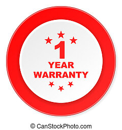 warranty guarantee 1 year red circle 3d modern design flat...
