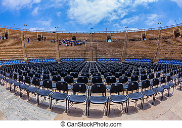 The magnificent amphitheater in Caesarea Roman period Spring...