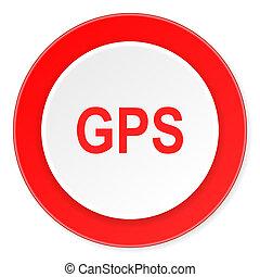 GPS, rojo, círculo, 3D, moderno, diseño,...