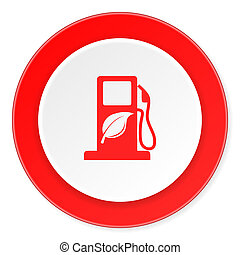 biofuel red circle 3d modern design flat icon on white...