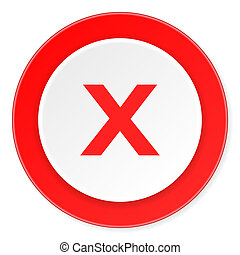 cancel red circle 3d modern design flat icon on white...