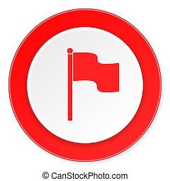 flag red circle 3d modern design flat icon on white...