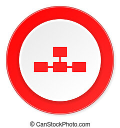 database red circle 3d modern design flat icon on white...
