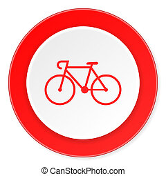 bicycle red circle 3d modern design flat icon on white...