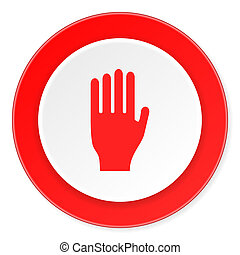 stop red circle 3d modern design flat icon on white...