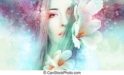 Beautiful woman with magnolia artwork