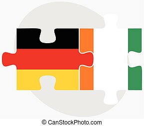 Germany and Cote Divoire Flags in puzzle isolated on white...