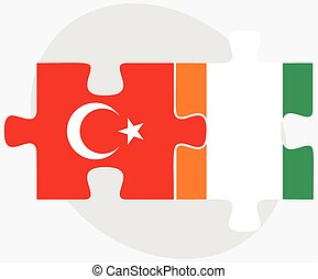 Turkey and Cote Divoire Flags in puzzle isolated on white...