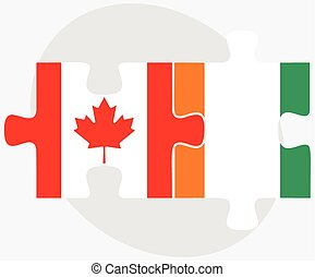 Canada and Cote Divoire Flags in puzzle isolated on white...